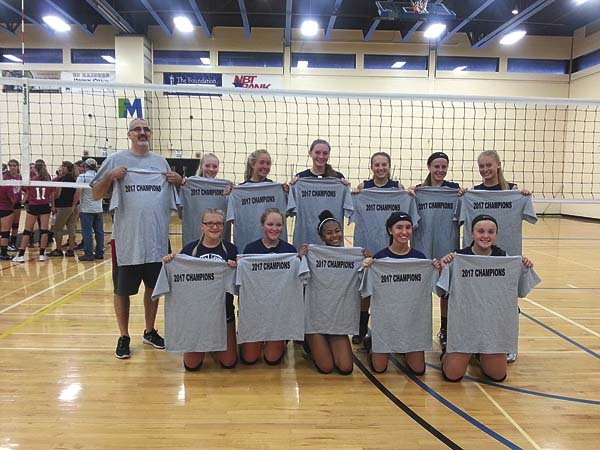 Broadalbin-Perth poses with its championship T-shirts after defeating Mayfield in the championship match of he Sacandaga Summer Volleyball League on Wednesday at Fulton-Montgomery Community College. (Photo submitted)