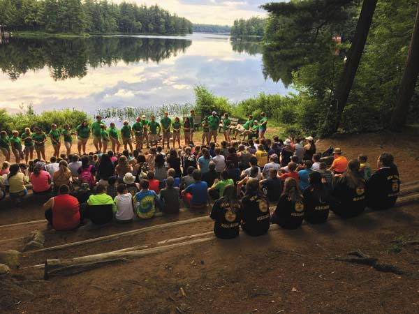 Campers gather for a nightly session at FFA camp in the Adirondacks. (Photo submitted)