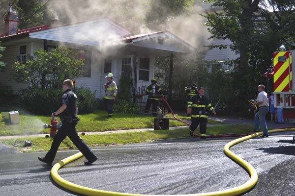 The Leader-Herald/Kerry Minor  A fire broke out at 77 Park Street in the city around 11:20 a.m. on Thursday.