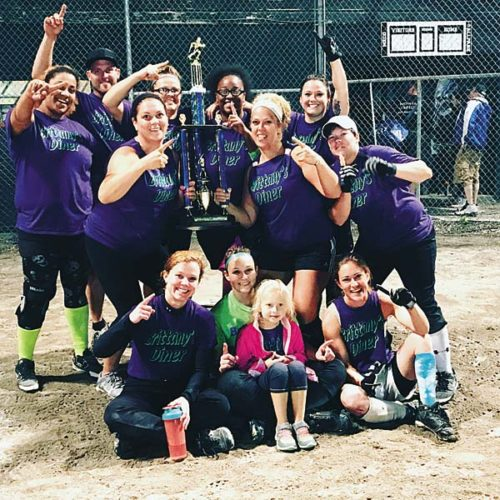 The Brittany's Diner softball team topped Partner's Pub in the best-of-three championship series to win the league title at Meco Ball Park. The team included Brittany Edwards, Heather Zugzda, Netta Briscoe Fray, Jennifer Shenton, Jennifer Carter, Kristen Lansburg, Ashley Ostrander, Ashley Fischer, Julia Lull, Emily Chrisman, Emily Bradt and Jamie Carrero. (Photo Submitted)