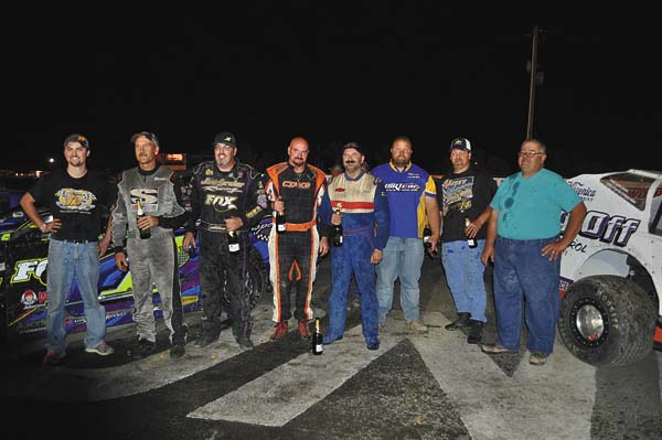 Fonda Speedway crowned its 2017 track champions on Saturday. Pictured, from left, are Cory White (limited sportsman), Tim Fuller (modified), Rocky Warner (sportsman), Ken Hollenbeck (four-cylinder), Ken Gates (pro stock), Matt Demitraszek (promoter), John Young (street stock) and Pete Demitraszek (promoter). (The Leader-Herald/James A. Ellis)