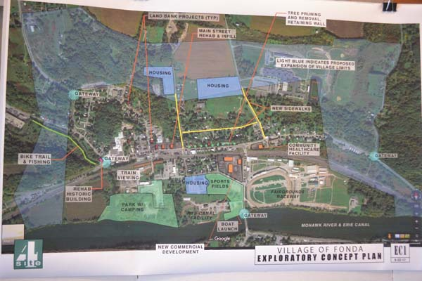 Shown are conceptual plans for the future of Fonda. (The Leader-Herald/Kerry Minor)