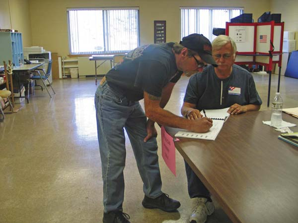 Jeffrey McGillis, of Caroga Lake signs in to vote on Tuesday. (The Leader-Herald/Briana O'Hara)