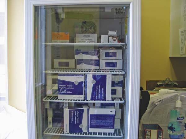 A cabinet of flu vaccines at Nathan Littauer Hospital is shown on Friday. (The Leader-Herald/Briana O'Hara)