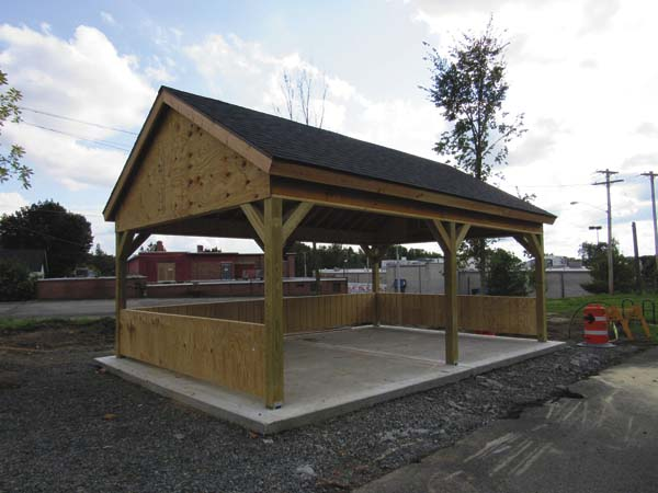 An under construction pavilion along the Rail Trial near Price Chopper is shown on Thursday. (The Leader-Herald/Kerry Minor)