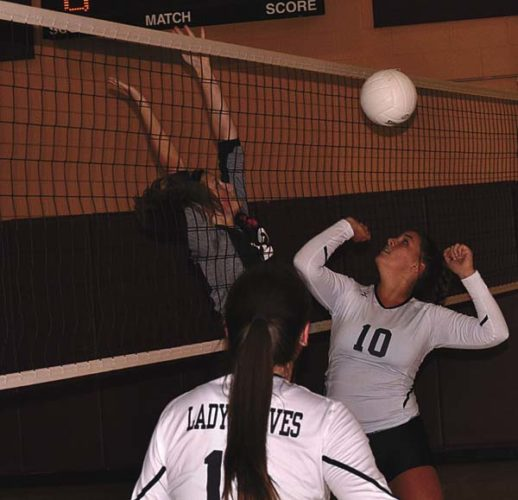 Fonda-Fultonville's Julia Bagnardi (10) and Oppenheim-Ephratah/St. Johnsville's Fontana LaCoppola battle at the net during Tuesday's Western Athletic Conference match. (The Leader-Herald/Paul Wager)