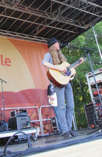 Sawyer Fredericks starts his first song as his band deadlines the Sticker Mule free all-day music festival Saturday at the Wilbur H. Lynch Academy 4 Diamond Field in Amsterdam. (The Leader-Herald/Eric Retzlaff)