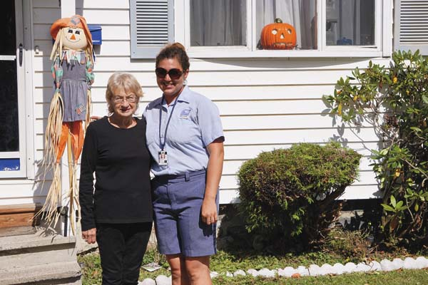 Judi Gosselin, left, and Nicole Hunt pose outside of Gosselin's home. (Photo submitted)