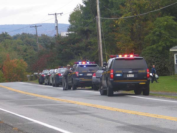 State police are shown at the scene of a stabbing at at a home at 136 County Highway 138, Broadalbin on Friday. (The Leader-Herald/Briana O'Hara)