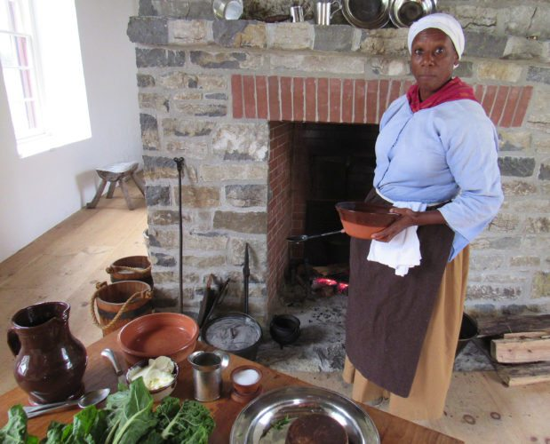 Culinary historian Lavada Nahon explains the foods black slaves prepared during a program on African traditions in colonial New York Saturday at Johnson Hall Historic site in Johnstown. (The Leader-Herald/Eric Retzlaff)