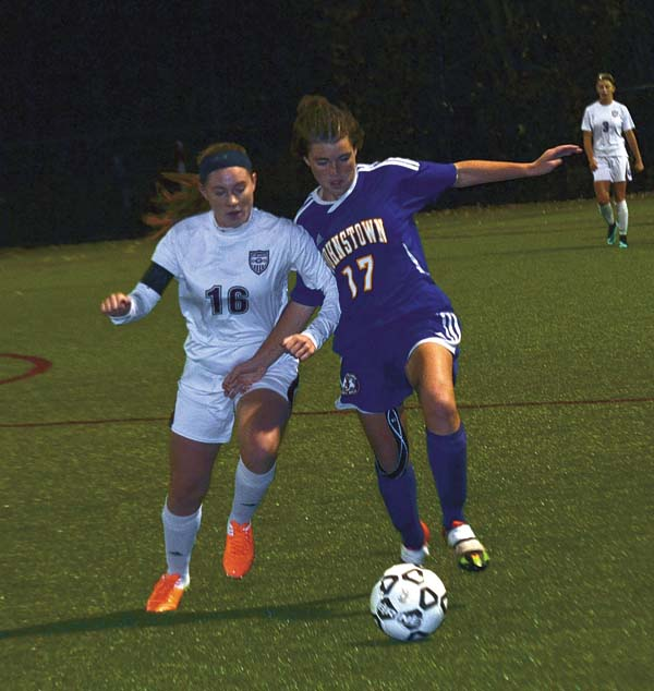 Johnstown's Madison Delgado (17) and Gloversville's Sydney Loux (16) battle for possession during Wednesday's Foothills Council South Division contest at Gloversville High School. (The Leader-Herald/Paul Wager)