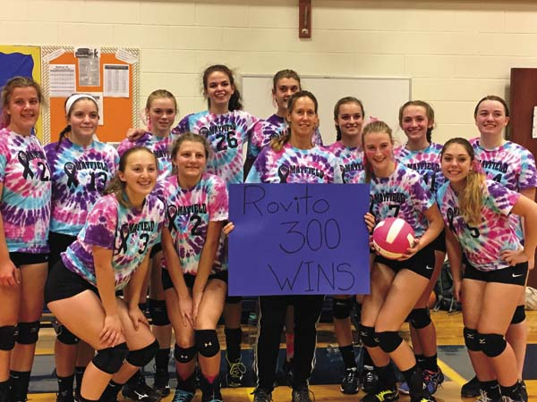 Mayfield volleyball coach Eileen Rovito, center, poses with her team after recording her 300th career victory. The Lady Panthers swept Fort Plain in a Western Athletic Conference match at Mayfield High School. (Photo submitted)