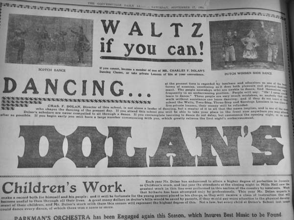 Dance Master Dolan didn't stint on advertising, as this Sept. 17, 1904 full-page spread attests. Photo courtesy of Peter Betz