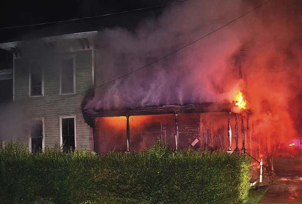 Gloversville firefighters responded to 25 Grand St. at 3:35 this morning for a structure fire. (The Leader-Herald/James A. Ellis)