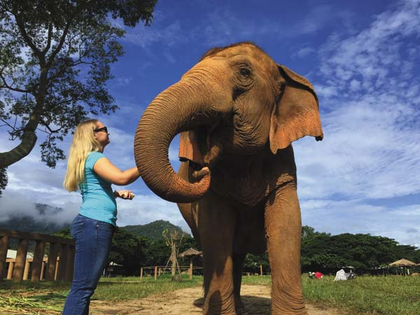 Morgan Gray of Canajoharie is shown with a elephant in Thailand during a summer studying abroad. (Photo courtesy of Loop Abroad)