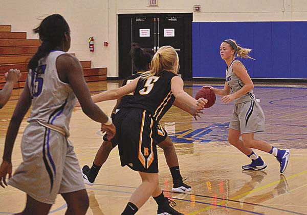 Mayfield graduate Julie Hampton (1) sets up a play for Fulton-Montgomery Community College during a Nov. 6, 2016, game against SUNY Broome at FMCC. Hampton returns to the team this season. (The Leader-Herald/James A. Ellis)