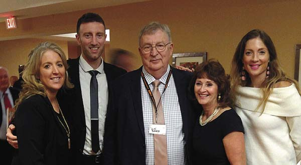 Phil Schoff, center, is joined by his family,  daughter, Wendi Schoff Waters, left, son, Phil Schoff Jr., his wife, Marcia, and daughter, Caryn Schoff Kovatch at the New York State Baseball Hall of Fame induction ceremony Sunday at the Hilton Garden Inn Hotel in Troy. (Photo submitted)