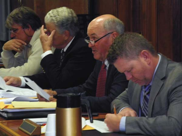 Mayfield Supervisor Rick Argotsinger, center glasses, chairman of the Fulton County Board of Supervisors' Finance Committee, discusses the county's 2018 tentative budget Monday at the County Office Building in Johnstown. (The Leader-Herald/Michael Anich)