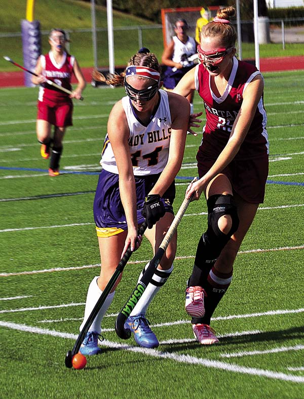 Johnstown's Madison Etherton, a first team all-star, controls the ball as Scotia-Glenville's Vicki Darling, a Second Team All-Star, defends during a Sept. 1 Foothills Council field hockey game at Knox Field in Johnstown. (The Leader-Herald/Paul Wager)