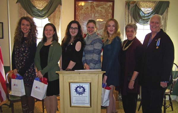The 2017 recipients of the Daughters of the American Revolution's Good Citizen award, from left, Jessie Brooks of Broadalbin Perth High School, Jillian Martelle of Johnstown High School, Rebecca McCall of Gloversville High School, Anna King of Mayfield Junior-Senior High School, and Haley Monacchio of Northville Central School are shown with Jo-Ann Clear, chairman of the DAR Johnstown Chapter Good Citizens and Karen Hurd, regent of the Johnstown Chapter. (Photo submitted)