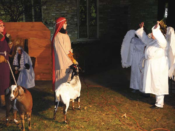 A Live Nativity is played out in the downtown area for the Johnstown Colonial Stroll Friday night in the city. (The Leader-Herald/Michael Anich)