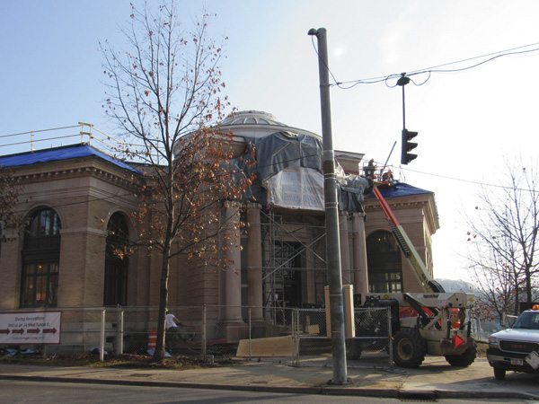 Construction continues on the Gloversville Public Library on Monday. (The Leader-Herald/Kerry Minor)