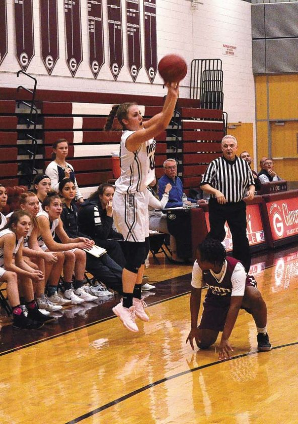 Gloversville's Harmony Philo puts up a 3-point shot against Scotia-Glenville during a Foothills Council game on Thursday at Gloversville High School. (The Leader-Herald/James A. Ellis)