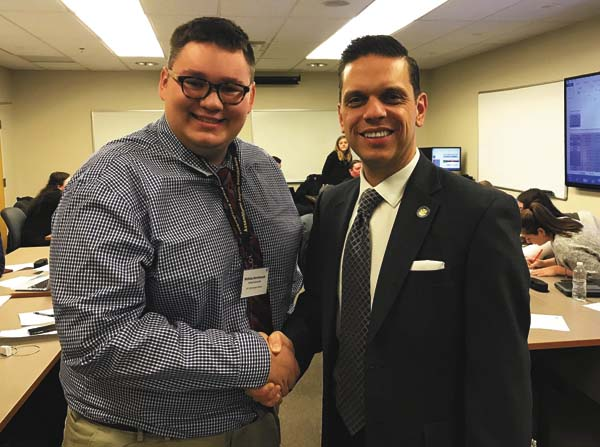 Nicholas Demitraszek of Tribes Hill, a Fonda-Fultonville High School senior, is congradulated by state Assemblyman Angelo Santabarbara after the assemblyman nominated him for the U.S. Presidential Scholarship Award. (Photo submitted)