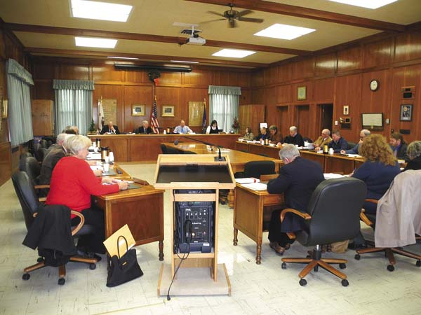 The Fulton County Board of Supervisors approves resolutions related to sewer districts Monday at the County Office Building in Johnstown. (The Leader-Herald/Michael Anich)