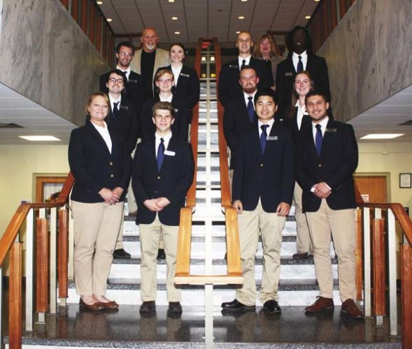 "Pictured are the members of the initial group of Alfred State's Presidential Aspiring Leaders (PAL) Program. In the first row, from left, are Michelle Margeson, Nathan Mattice, Dawei ""David"" Tao, and Louis Tomassi. In the second row, from left, are Robert Privitera, Cassandra Ryan, Cory Farley, and Elisabeth Wolff. In the third row, from left, are Don Schrader, Bryanna Godfrey, Dillon Fairhead, and Kaieel Ward. In the fourth row are Alfred State President Dr. Skip Sullivan and Executive Assistant to the President Tammy Conrad. (Photo submitted)"