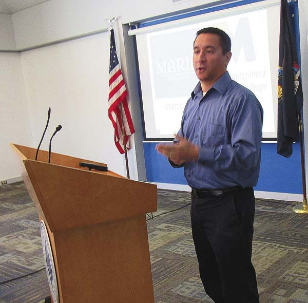 John Ramoska, director of admissions at Maria College in Albany, explains the specifics of Maria and Fulton-Montgomery Community College's new joint weekend program to train licensed practical nurses at an FM information session on Thursday. (The Leader-Herald/Eric Retzlaff)