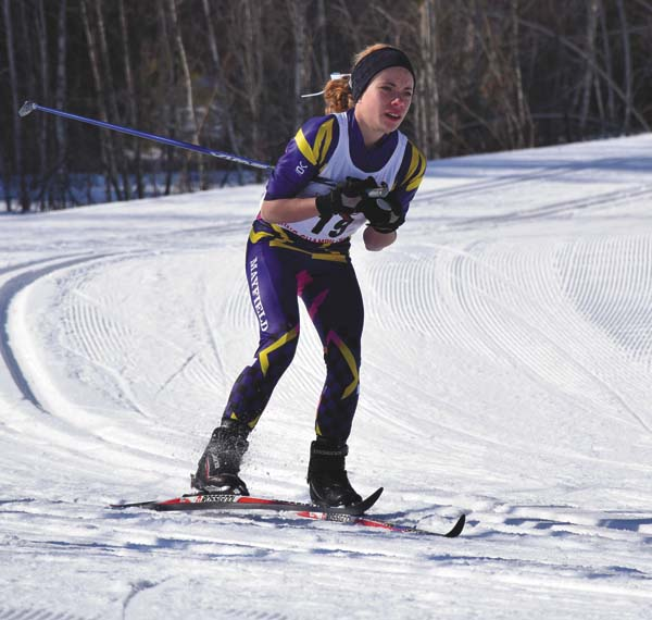 Mayfield's Madison Relyea skis during the girls nordic individual classic race at the New York State Public High School Athletic Association Nordic Skiing Championships at the North Creek Ski Bowl on Feb. 27. (Adirondack Daily Enterprise/Justin A. Levine)