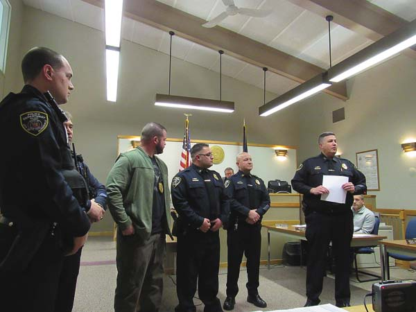 Members of the Gloversville Police Department were present at Tuesday's Common Council meeting to speak about the department's re-accreditation. (The Leader-Herald/Kerry Minor)