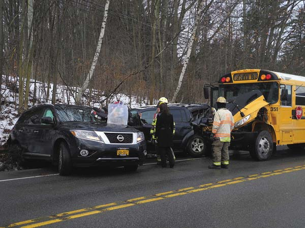 A Brown's Transportation bus, which wasn't being used as a school bus, was involved in an accident with two other vehicles just before 8 a.m. today on Route 67, east of Heagle Road in the town of Johnstown. The Fulton County Sheriff's Department reported one injury from one of the cars. (The Leader-Herald/Michael Anich)