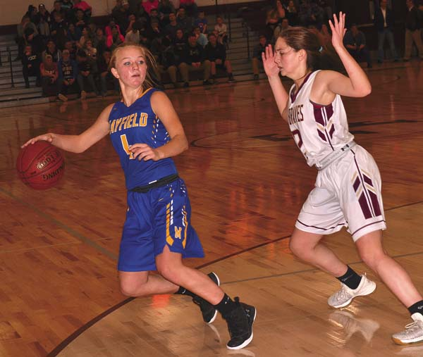 Fonda-Fultonville's Carly Atty (2) defends Mayfield's Lindsey Hampton during Tuesday's Western Athletic Conference game at Fonda-Fultonville High School. (The Leader-Herald/Paul Wager)
