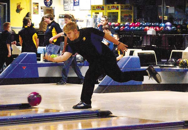 Mayfield's Tyler Cramer warms up for the Panthers' match Wednesday against Canajoharie at Arterial Lanes in Gloversville. (The Leader-Herald/James A. Ellis)