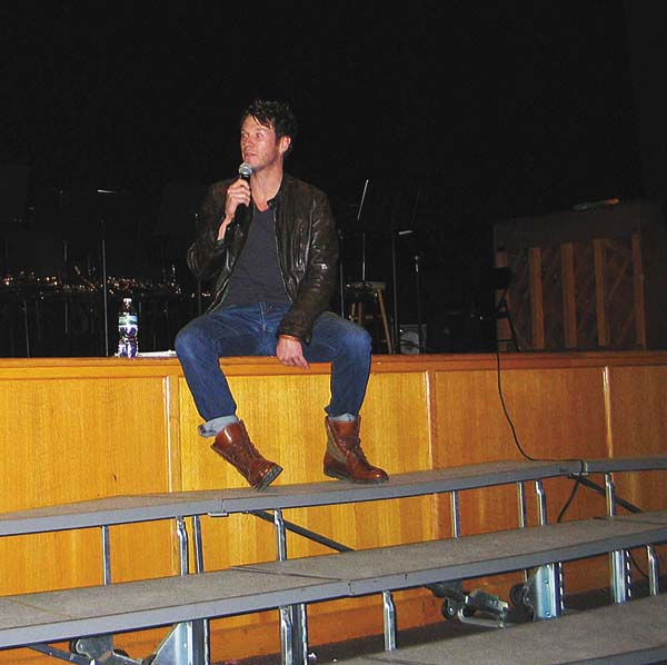 Actor Chad Michael Collins spoke and answered questions from Canajoharie High School students about his career as an actor and his time as a student at Canajoharie.  (The Leader Herald/Briana O'Hara)