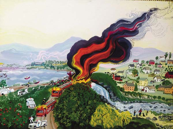 """""""Accidents Will Happen,"""" a painting by Linda Finch as part of her collection """"Channeling Moses."""" Finch said there are gas compression explosions every single day across the Unite States. She said gas companies try to take short cuts and because of the quality of gas, local firefighters aren't able to handle the intense fires. (Photo courtesy of Linda Finch)"""
