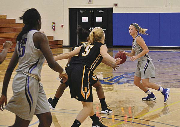 Mayfield graduate Julie Hampton (1) sets up a play for Fulton-Montgomery Community College in their game against SUNY Broome at FMCC. (The Leader-Herald/James A. Ellis)