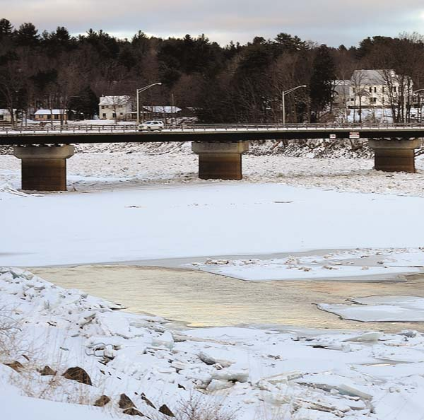An ice jam and open water formed near the Northville Bridge crossing the the Great Sacandaga Lake on Saturday. (The Leader-Herald/James A. Ellis)
