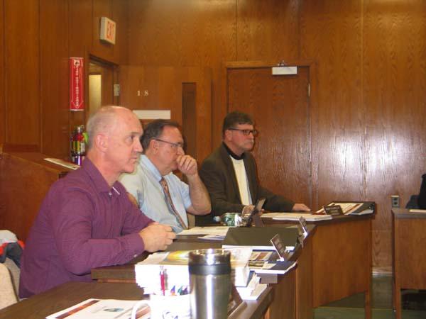 District 2 Legislator Brian Sweet, left, District Legislator 3 Roy Dimond, Chairman Robert Headwell, Jr., right, during the Legisature meeting held Tuesday are shown. (The Leader-Herald/Briana O'Hara)