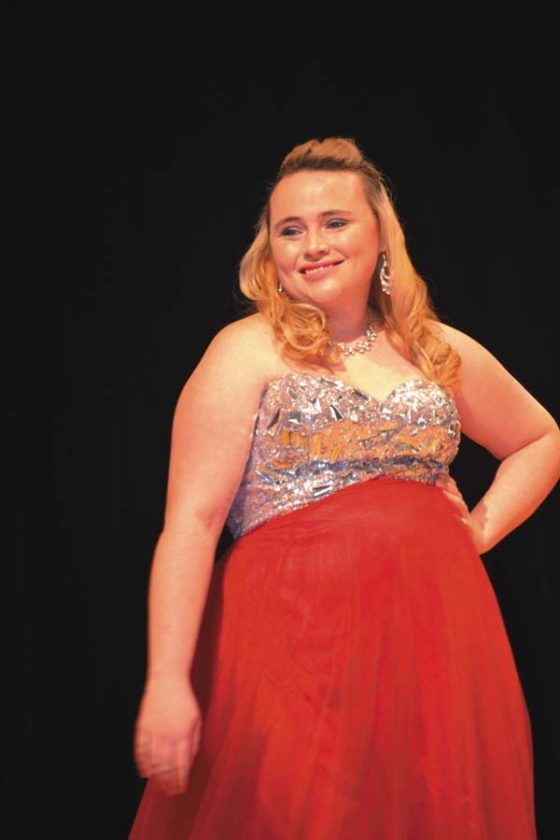 Contestant Heather Flint is shown during the evening wear competition. (The Leader-Herald/Eric Retzlaff)