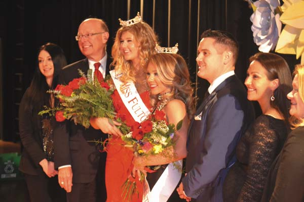 2018 Miss Fulton County Chelsea Cirillo, center left, and 2018 Miss Montgomery County Sara James are shown Saturday with this year's pageant judges, from left, Megan Boggs, Stanley Bojarski, Maxwell Spitzer and Theresa Tokarowski Guirola. The fifth judge, Jennifer Sponnoble, is not shown. (The Leader-Herald/Eric Retzlaff)