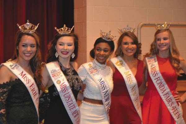 Some of the state's pageant winners are shown, from left, Miss Erie Canal, Miss Upstate New York, Miss New York Outstanding Teen, Miss New York and Miss Fonda Fair. (The Leader-Herald/Eric Retzlaff)
