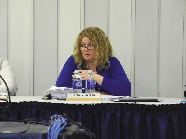 Greater Johnstown School District Superintendent Patricia Kilburn discusses an issue at the Board of Education meeting Thursday night at Johnstown High School. (The Leader-Herald/Michael Anich)