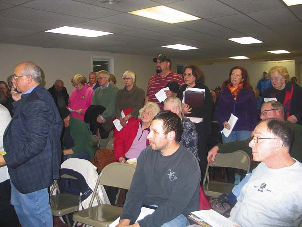 Town of Glen residents gathered at town hall on Thursday to have their questions answered by representatives of the Lystek company moving into the Glen business park stand during the planning board meeting Thursday. (The Leader-Herald/Briana O'Hara)