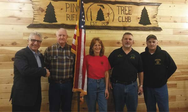Sen. Jim Tedisco, left, congratulates the winners of the Chili Cook-off at the Pine Tree Rifle Club in Johnstown. The winners, Gary Stoller, second from left, and Lynne Delesky, third from left, tied for first place and bragging rights as the best chili in Fulton County. Also pictured from left are Pine Tree Rifle Club President Paul Catucci and Fulton County Sheriff Richard Giardino. (Photo submitted)