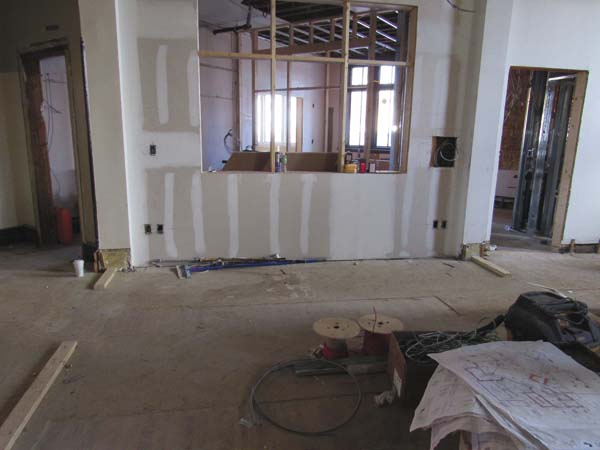 The main desk will be moved to the left side so it can be seen from both entrances. (The Leader-Herald/Kerry Minor)