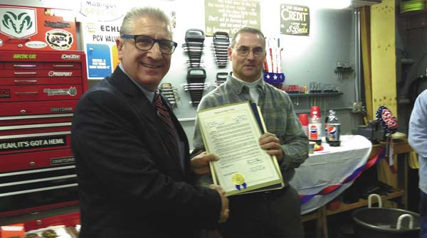 Senator Jim Tedisco, left, honors Wells former supervisor Brian Towers, right. (Photo Submitted)