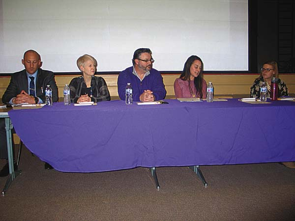 From left, Amsterdam City Police Dectective Joseph Spencer, lSt. Mary's Healthcare Addiction Service representative Carol Greco, Chris Carpenter, Kristie Centi, Opioid Prevention Educator Jenna Mares, right, speak at the ppioid epidemic discussion at Lynch Literacy Academy in Amsterdam on Tuesday. (The Leader-Herald/Briana O'Hara)